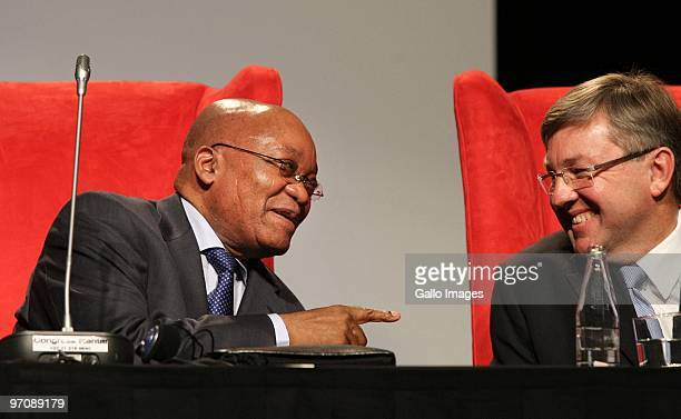 February 25: President Jacob Zuma and Tourism Minister Marthinus van Schalkwyk at a tourism, sport and events summit at the Sandton Convention Centre...