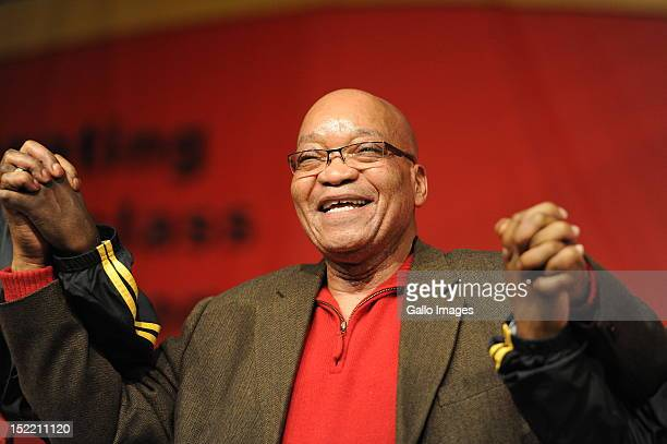President Jacob Zuma attends the Cosatu's 11th National Conference at Gallagher Estate on September 17 2012 in Midrand South Africa Delegates held a...