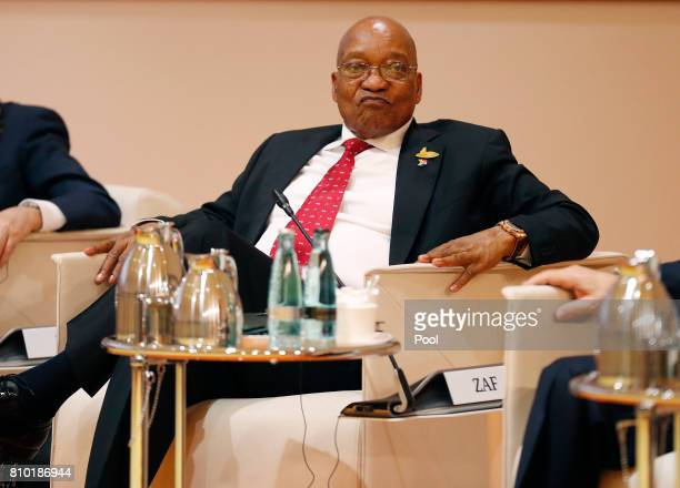 President Jacob Zuma attends the G20 leaders retreat as part of the G20 summiton July 7 2017 in Hamburg Germany Leaders of the G20 group of nations...
