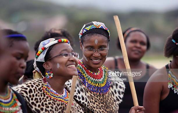 President Jacob Zuma daughters' Duduzile and Phumzile during their joint uMemulo ceremony at the Zuma homestead in Nkandla on April 21 2011 in...