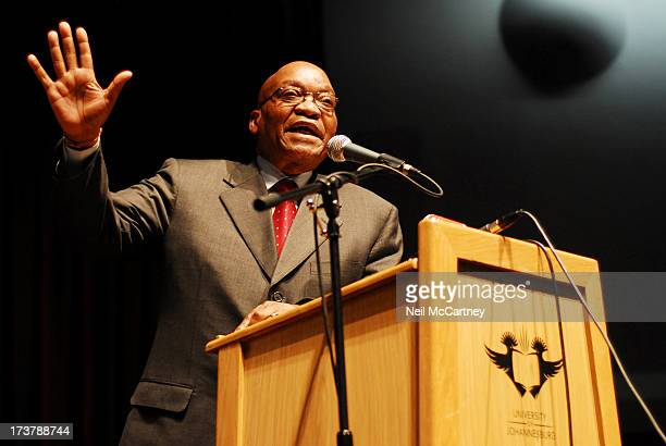 President Jacob Zuma gives his views on access to South African Justice at the University of Johannesburg South Africa 9 September 2008