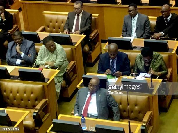 President Jacob Zuma is seen napping during finance minister Malusi Gigabas Mediumterm budget speech in Parliament on October 25 2017 in Cape Town...