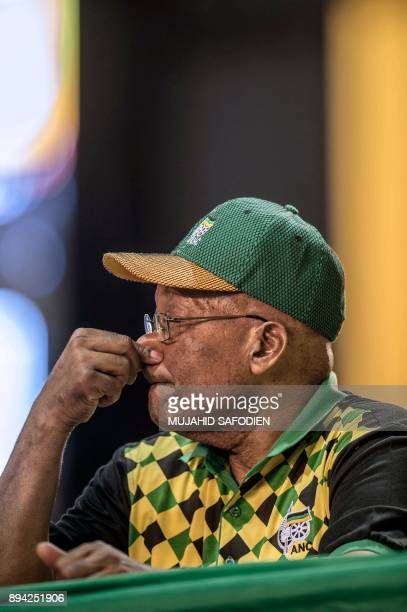 President Jacob Zuma listens to delegates disputing votes at the NASREC Expo Centre during the 54th ANC national congress on December 17 2017 in...