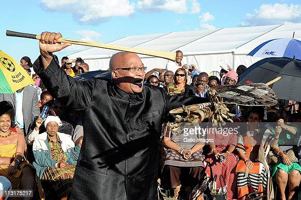 President Jacob Zuma performs during the traditional wedding ceremony for his daughter Duduzile Zuma and Lonwabo Sambudla former head of Lembede...