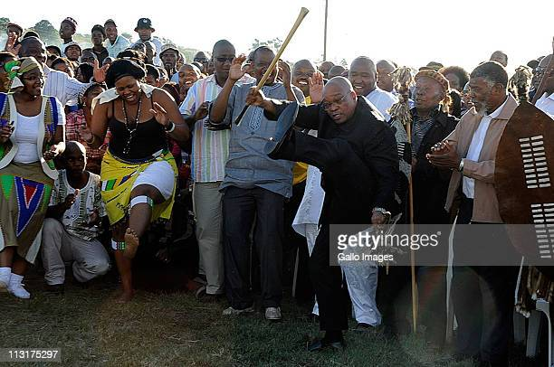 President Jacob Zuma performs during the traditional wedding ceremony for his daughter Duduzile Zuma and Lonwabo Sambudla, former head of Lembede...
