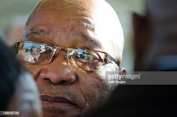President Jacob Zuma rides public transportion during rush hour from the Sandton Gautrain station on June 14 2012 in Johannesburg South Africa In an...
