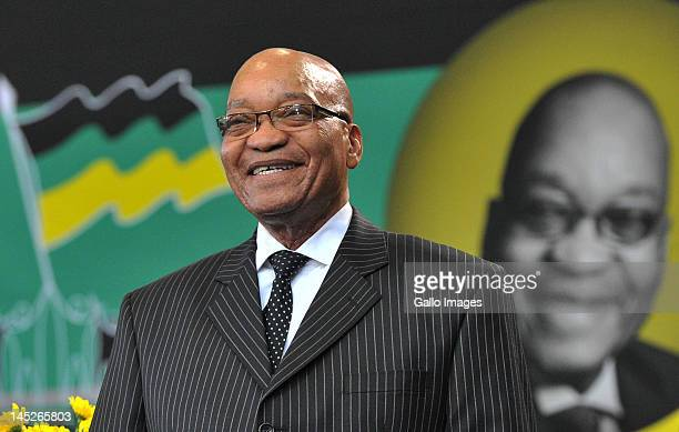 President Jacob Zuma smiles at the Fort Hare University, where he delivered a lecture in honour of the late fifth President General of the ANC,...