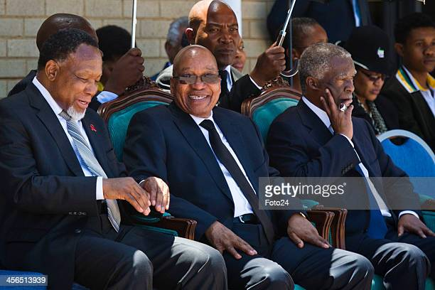 President Jacob Zuma with Thabo Mbeki and Kgalema Motlanthe at the official sendoff for Nelson Mandela at the Waterkloof Air Base on December 14 2013...
