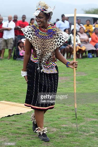 President Jacob Zuma's daughter Duduzile Zuma during her uMemulo ceremony at the Zuma homestead in Nkandla on April 21 2011 in KwaZulu Natal South...