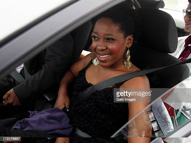 President Jacob Zuma's daughter Gugulethu Zuma arrives at the wedding ceremony of her sister Duduzile Zuma and former head of Lembede Investment...
