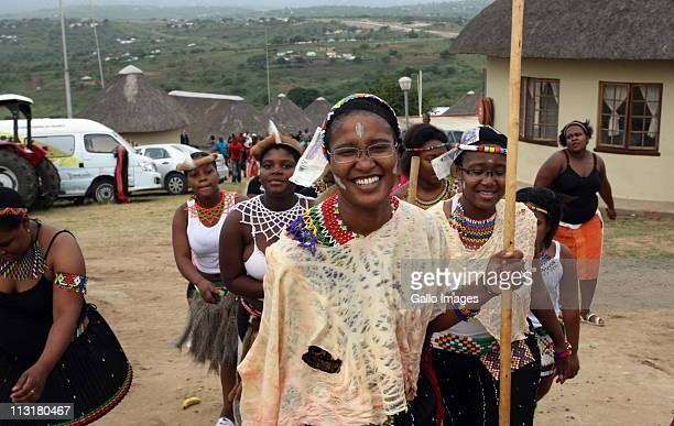 President Jacob Zuma's daughters Duduzile and Phumzile during their uMemulo ceremony at the Zuma homestead in Nkandla April 21 2011 in KwaZulu Natal...