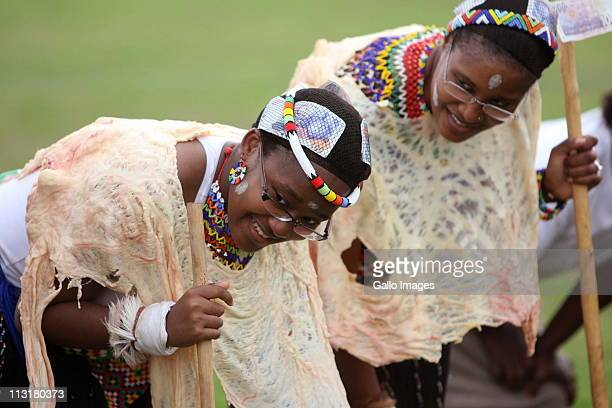 President Jacob Zuma's daughters Duduzile Zuma and her sister Phumzile during their joint uMemulo ceremony at the Zuma homestead in Nkandla on April...