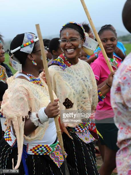 President Jacob Zuma's daughters Duduzile Zuma and Phumzile Zuma and attend their joint uMemulo ceremony at the Zuma homestead on April 21 2011 in...