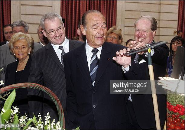 """President Jacques Chirac and First Lady Bernadette Chirac hold the annual """"Fete du Muguet"""" ceremony at the Elysee Palace in Paris, France on May 01st..."""