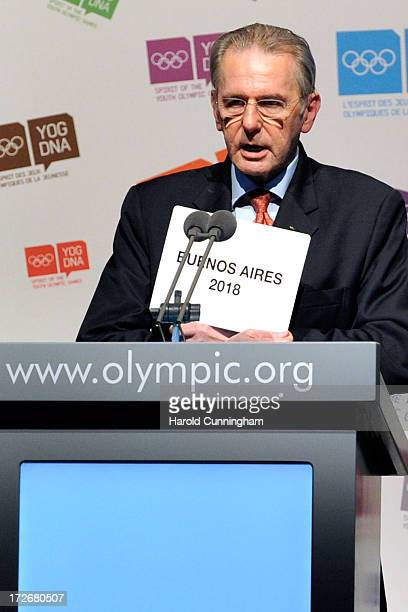 President Jacques Rogge announces Buenos Aires as the 3rd Summer Youth Olympic Games in 2018 winning city on July 4 2013 in Lausanne Switzerland The...