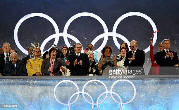 President Jacques Rogge, Governor General of Canada Michaelle Jean and other delegates attend the Opening Ceremony of the 2010 Vancouver Winter...