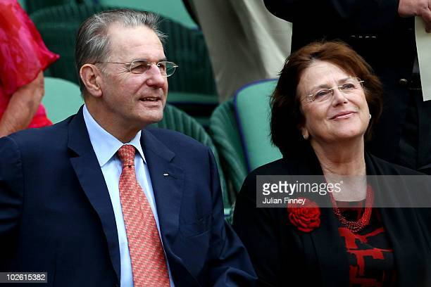 President Jacques Rogge looks on ahead of the Men's Singles Final match between Rafael Nadal of Spain and Tomas Berdych of Czech Republic on Day...