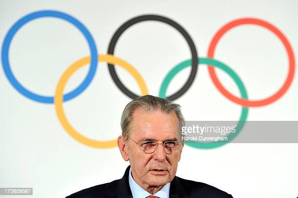 President Jacques Rogge looks on during a press conference following Buenos Aires announcement as the 3rd Summer Youth Olympic Games in 2018 winning...