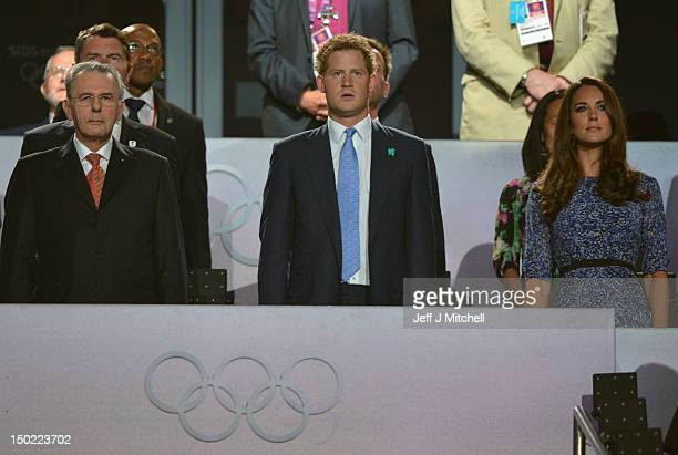 President Jacques Rogge, Prince Harry and Catherine, Duchess of Cambridge look on during the Closing Ceremony on Day 16 of the London 2012 Olympic...