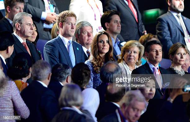 IOC president Jacques Rogge Prince Harry Catherine Duchess of Cambridge LOCOG chairman Lord Sebastian Coe and Carole Annett attend the Closing...