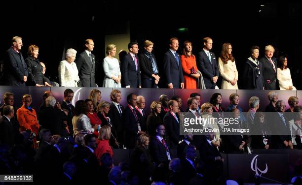 IOC President Jacques Rogge with his wife Anne Queen Elizabeth II The Earl and Countess of Wessex Lord Sebastian Coe Carole Annett Prime Minister...