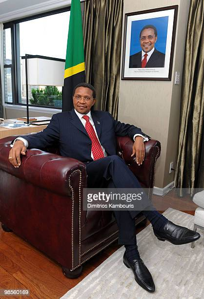 President Jakaya Kikwete poses during an interview as he names Doug Pitt Goodwill Ambassador of the United Republic of Tanzania hosted by President...
