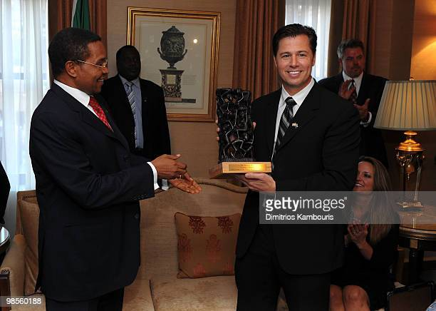 President Jakaya Kikwete presents Goodwill Ambassador Doug Pitt with gifts during the Tanzania Education Trust New York Gala hosted by President...
