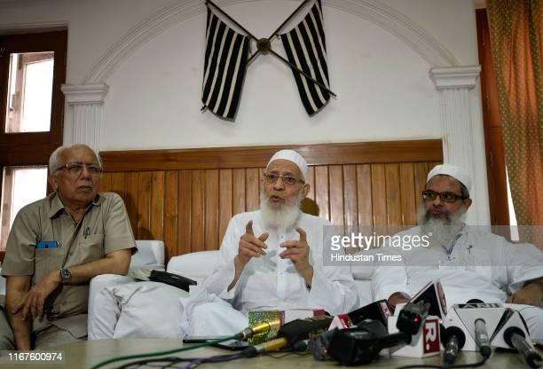 President Jamait UlamaEHind Maulana Qari Syed Md Usman Mansoorpuri and General Secretary Mahmood Madani during a meeting for the resolution on...