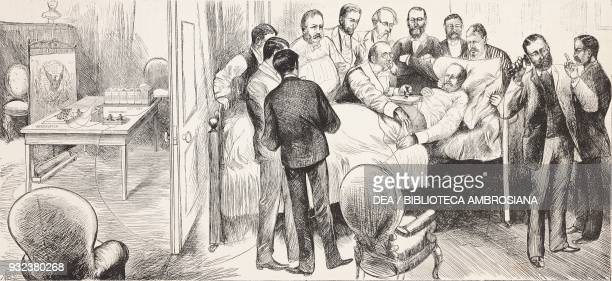 US President James Abram Garfield in hospital after the assassination attempt on July 2 Alexander Graham Bell using his induction balance and...