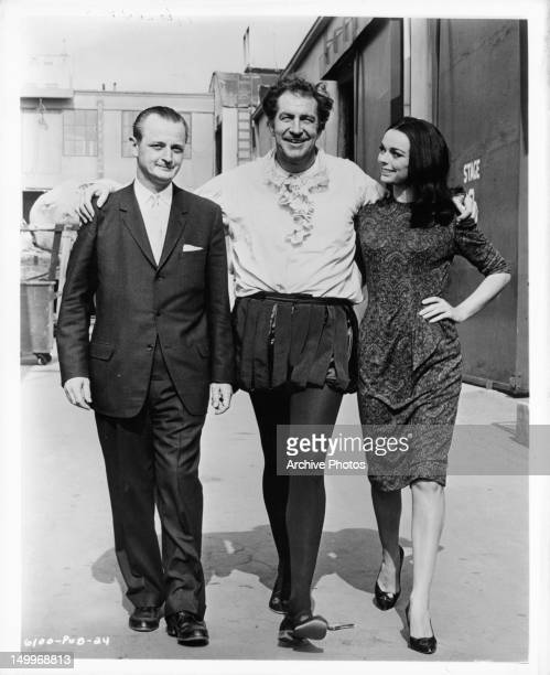 AIP President James H Nicholson Vincent Price and Barbara Steele take a stroll in between scenes of the film 'Pit And The Pendulum' 1961