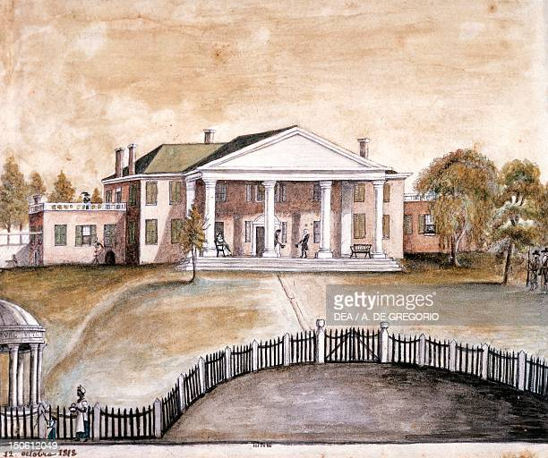 President James Madison's house in Montpelier Virginia by Anne Marguerite Hyde de Neuville watercolour The United States 19th century