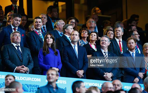 RFU President Jason Leonard Catherine Duchess of Cambridge Prince William Duke of Cambridge World Rugby Chairman Bernard Lapasset and Prince Harry...