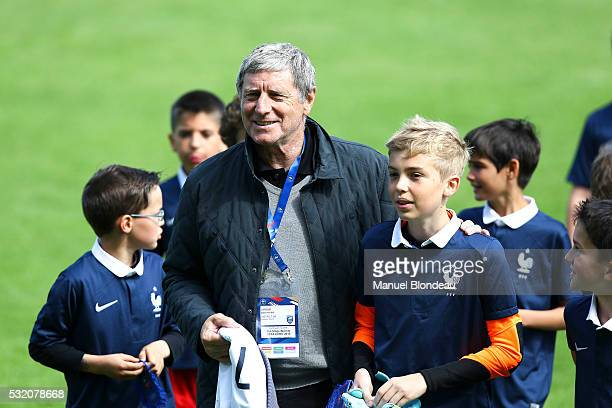 President Jean Michel Larque of district of Pyrenees Atlantique is pictured with some of the young players from district of Pyrenee Atlantique who...