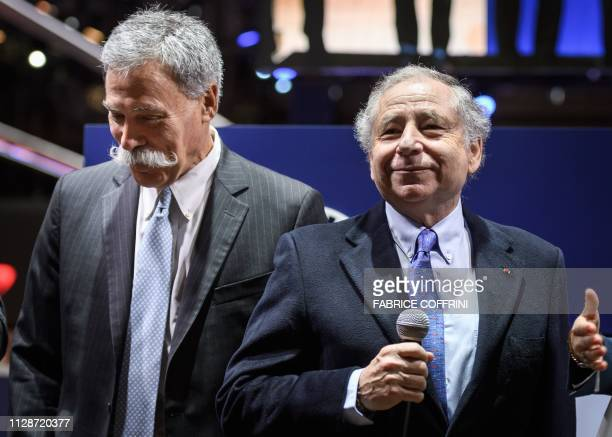FIA president Jean Todt delivers a speech next to Formula One Group CEO Chase Carey on March 5 2019 during a press day ahead of the Geneva...