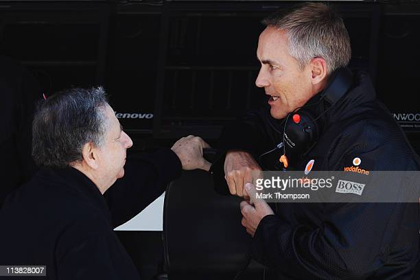 A President Jean Todt talks with McLaren Team Principal Martin Whitmarsh in the paddock before qualifying for the Turkish Formula One Grand Prix at...
