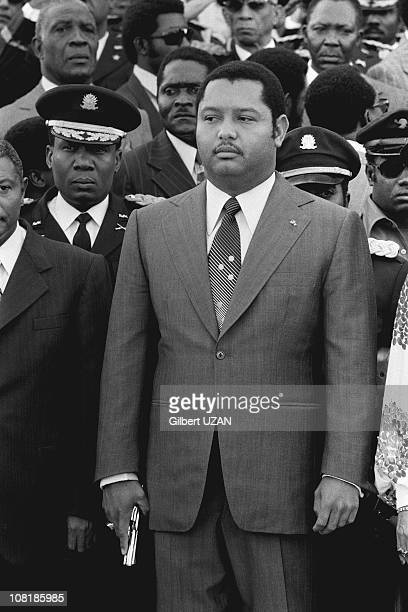President Jean-Claude Duvalier with a gun in his hand in Haiti.
