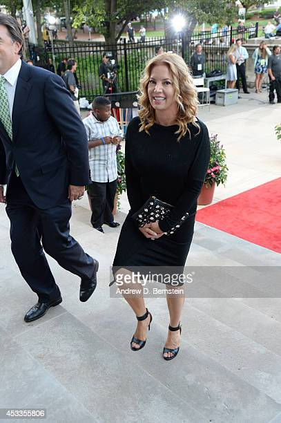 President Jeanie Buss of the Los Angeles Lakers on the red carpet prior to the 2014 Basketball Hall of Fame Enshrinement Ceremony on August 8 2014 at...