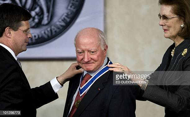 President JeanPaul Costa of the European Court of Human Rights is awarded with the Four Freedoms Award on May 29 2010 by Dutch prime ministere Jan...