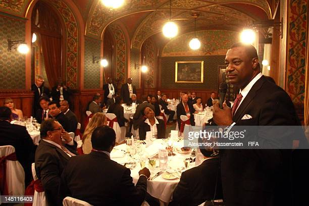 President Jeffrey Webb speaks at the Fortuna Castle Restaurant during the CONCACAF dinner on May 23 2012 in Budapest Hungary