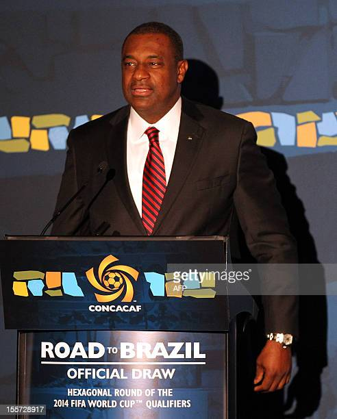 President Jeffrey Webb speaks before the draw for the CONCACAF Hexagonal the fourth and final qualifying round for the 2014 FIFA World Cup November 7...