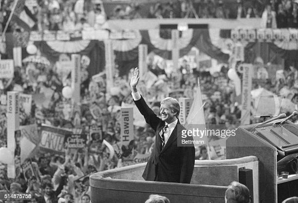 President Jimmy Carter accepts the Democratic nomination for president at the 1980 convention