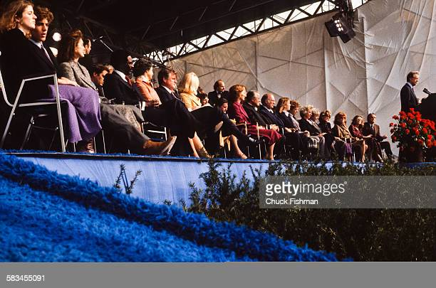 President Jimmy Carter addresses the crowd from the podium at the dedication ceremony for the John F Kennedy Presidential Library and Museum in...