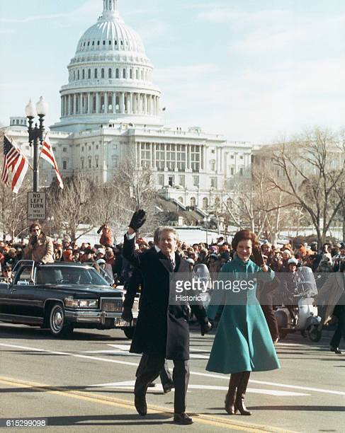 President Jimmy Carter and First Lady Rosalynn Carter walk from the Capitol to the White House during his inauguration parade Carter had just been...