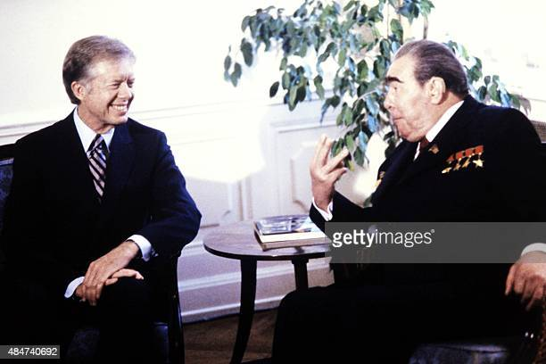 US President Jimmy Carter and General Secretary of the Central Committee of the Communist Party of the Soviet Union Leonid Brezhnev talk prior...