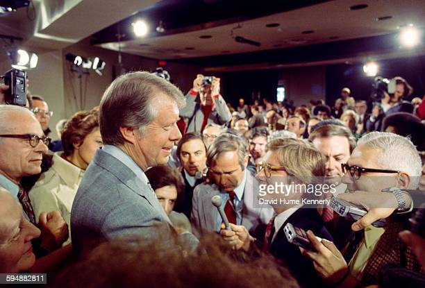 President Jimmy Carter answers questions from the press after holding a presidential news conference at the Old Executive Office Building, April 15,...