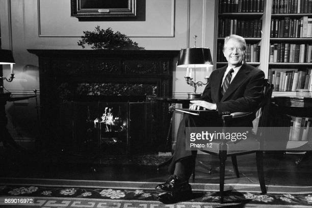 President Jimmy Carter at the White House during a fireside chat, 1979.