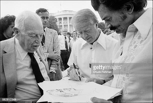 President Jimmy Carter at the White House Jazz Concert held on the South Lawn to commemorate the 25th anniversary of the Newport Jazz Festival,...