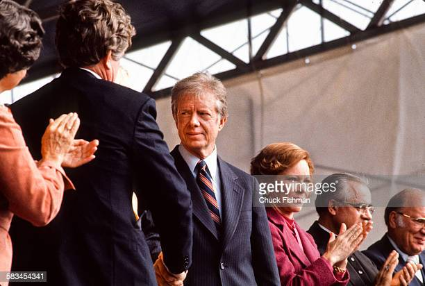 President Jimmy Carter attends the dedication ceremony for the John F Kennedy Presidential Library and Museum in Boston Massachusetts October 1979