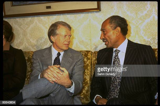 US President Jimmy Carter chatting with Egyptian President Anwar Sadat