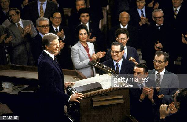 President Jimmy Carter delivering State of the Union Speech before a joint session of Congress